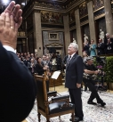 Bundespräsident Heinz Fischer nach seiner Rede zum Abschluss seiner Amtszeit.