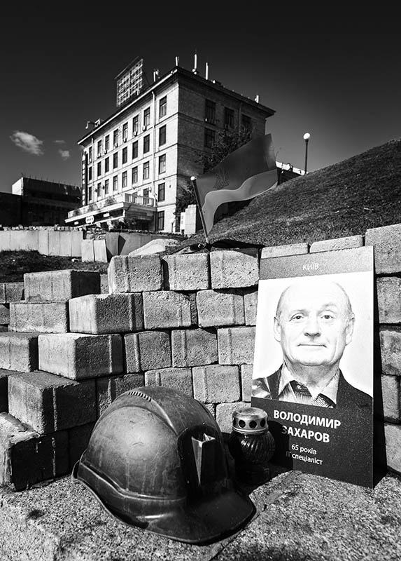 Mahnmal für einen getöteten Kämpfer der Aufstände am Majdan von November 2013 bis Februar 2014.