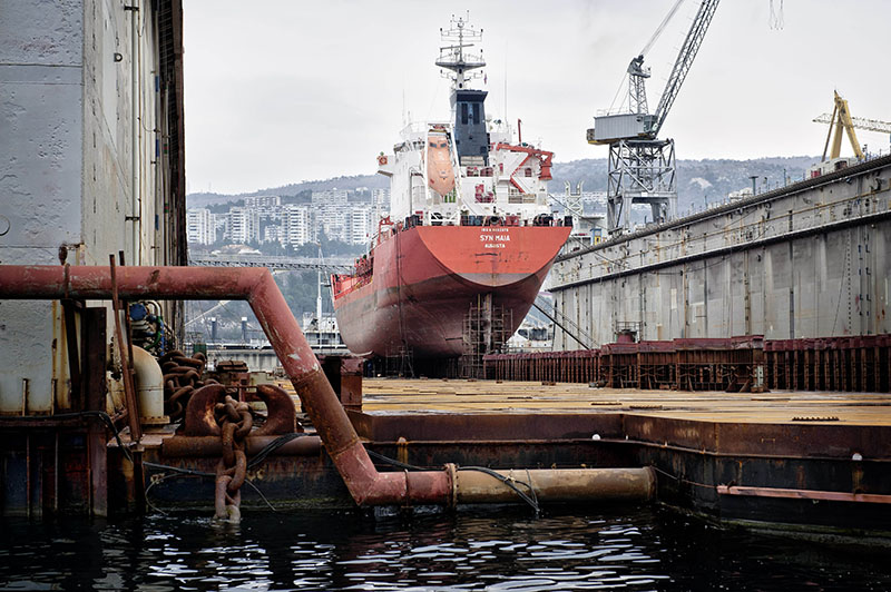 Cargo ship on dry dock at 3. May shipyard in Rijeka.